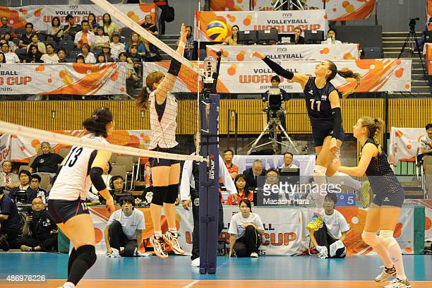 Julieta Constanza Lazcano of Argentina spikes during the match between Argentina and South Korea during the FIVB Women's Volleyball World Cup Japan...