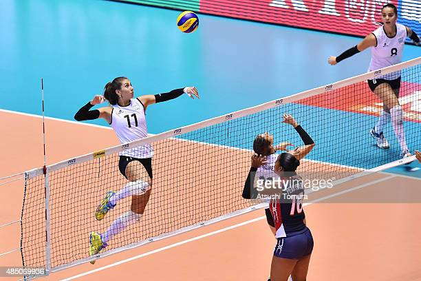 Julieta Constanza Lazcano of Argentina spikes in the match between Dominican Republic and Argentina during the FIVB Women's Volleyball World Cup...