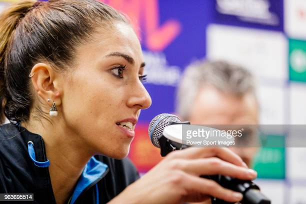 Julieta Constanza Lazcano of Argentina talks to media during the post match press conference of FIVB Volleyball Nations League Hong Kong match...