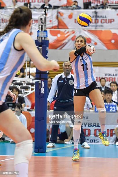 Julieta Constanza Lazcano of Argentina tosses the ball in the match against Algeria during the FIVB Women's Volleyball World Cup Japan 2015 at...