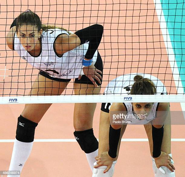Julieta Costanza Lazcano and Yael Castiglione of Argentina look on during the FIVB Women's World Championship pool A match between Tunisia and...