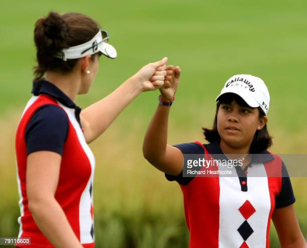 Julieta Granada and Celeste Troche of Paraguay celebrate a birdie on the 5th green during the second round of the Women's World Cup of Golf at The...