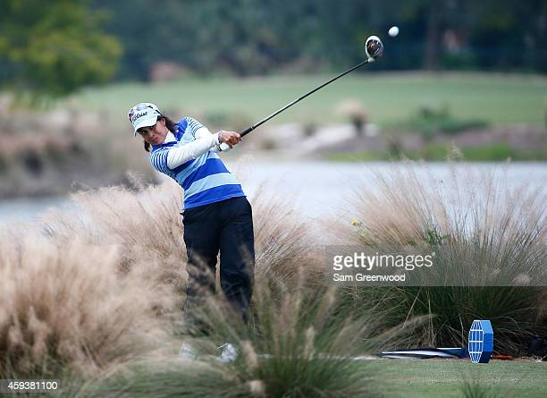 Julieta Granada of Paraguay plays a shot on the sixth hole during the second round of the CME Group Tour Championship at Tiburon Golf Club on...