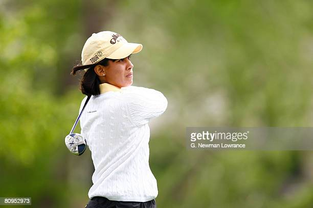 Julieta Granada of Paraguay watches a fairway shot on the tees off on the 4th hole during the first round of the SemGroup Championship presented by...