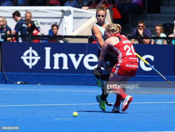 LR Julieta Jankunas of Argentina and Hollie Webb of England during the Investec International match between England Women and Argentina Women at The...