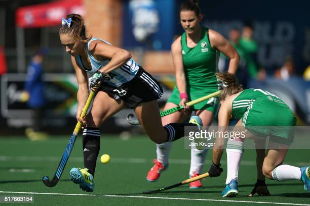 Julieta Jankunas of Argentina attempts to get past Emily Beatty of Ireland during the Quarter Final match between Argentina and Ireland during the...