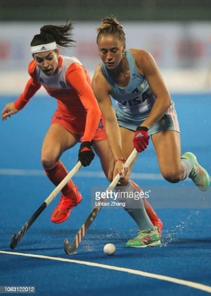 Julieta Jankunas of Argentina battles for the ball with Eva De Goede of Netherlands during the FIH Champions Trophy match between Netherlands and...