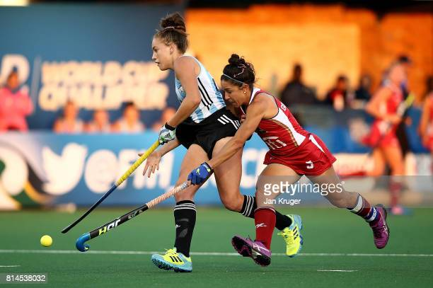 Julieta Jankunas of Argentina breaks past the defence of Melissa Gonzalez of United States of America for her goal during day 4 of the FIH Hockey...