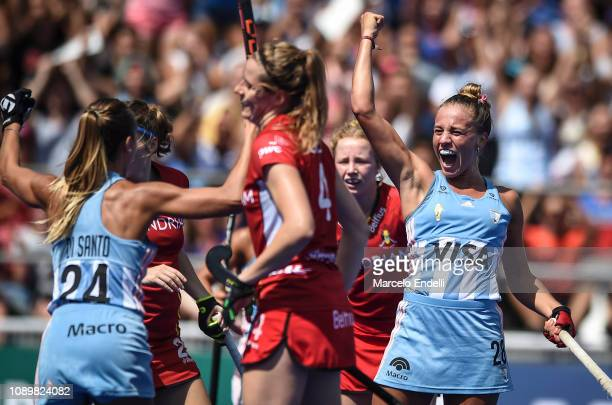 Julieta Jankunas of Argentina celebrates after after scoring the first goal of her team during the Women's FIH Field Hockey Pro League match between...