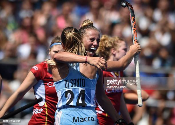 Julieta Jankunas of Argentina celebrates after scoring the first goal of her team during the Women's FIH Field Hockey Pro League match between...