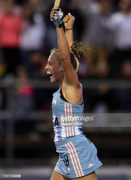 Julieta Jankunas of Argentina celebrates after scoring the winner goal during a shootout after the Women's FIH Field Hockey Pro League match between...