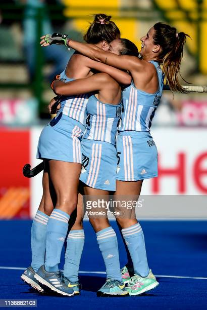 Julieta Jankunas of Argentina celebrates with teammates after scoring the second goal of his team during the Women's FIH Field Hockey Pro League...