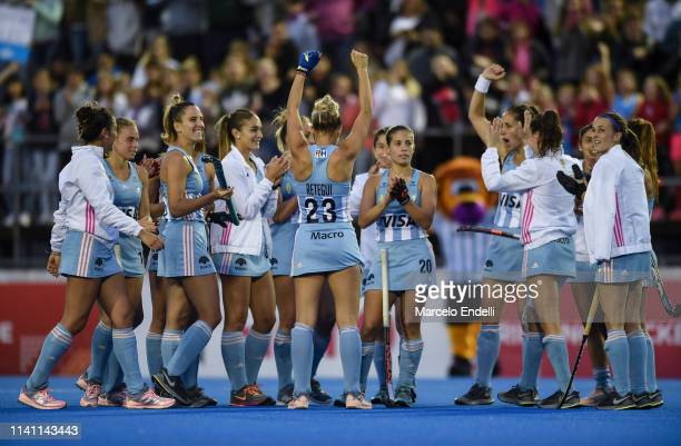 Julieta Jankunas of Argentina celebrates with teammates after winning the Women's FIH Field Hockey Pro League match between Argentina and Australia...