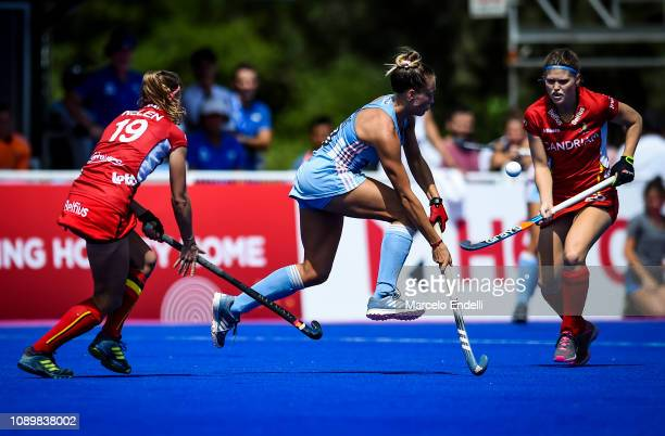 Julieta Jankunas of Argentina competes for the ball with Barbara Nelen of Belgium during the Women's FIH Field Hockey Pro League match between...
