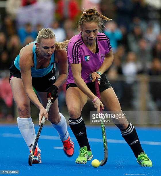 Julieta Jankunas of Argentina fights for the ball with Anita Mclaren of New Zealand during an International Friendly match between Argentina and...