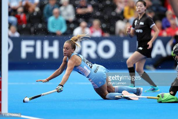 Julieta Jankunas of Argentina fires in the winning penalty during the Women's FIH Field Hockey Pro League match between Great Britain and Argentina...