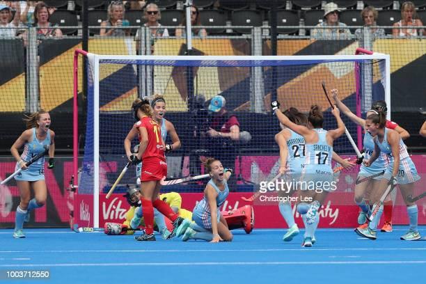 Julieta Jankunas of Argentina scores their first goal during the Pool C game between Argentina and Spain of the FIH Womens Hockey World Cup at Lee...