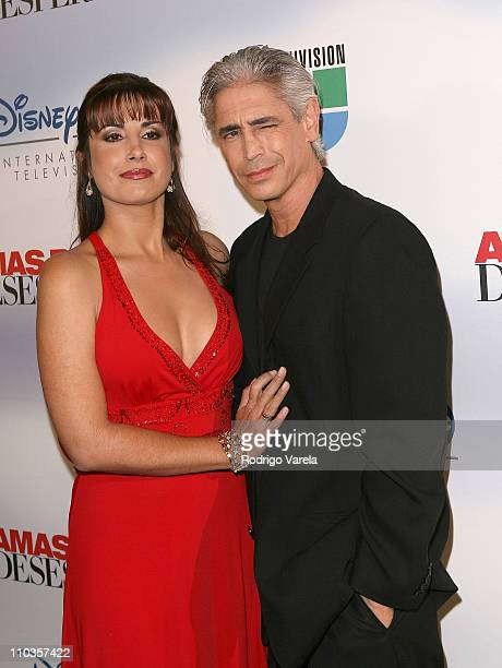 Julieta Rosen and Riccardo Dalmacci pose at the launch party for Amas de Casa Desesperadas at Karu Y on January 8 2008 in Miami Florida
