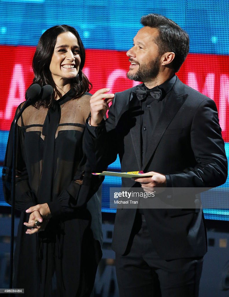 Julieta Venegas (L) and Diego Torres speak onstage during the 16th Annual Latin GRAMMY Awards held at MGM Grand Garden Arena on November 19, 2015 in Las Vegas, Nevada.