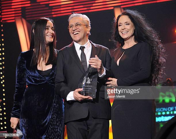 Julieta Venegas honoree Caetano Veloso and Sonia Braga onstage during the 2012 Latin Recording Academy Person Of The Year honoring Caetano Veloso at...