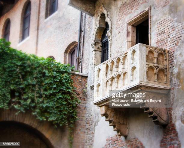 juliet's balcony in verona, italy - shakespeare stock photos and pictures
