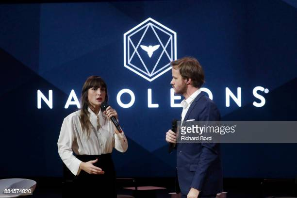 Juliette Armanet and Alexandre Kouchner on stage during the Introductory Session To The 7th Summit Of Les Napoleons at Maison de la Radio on December...