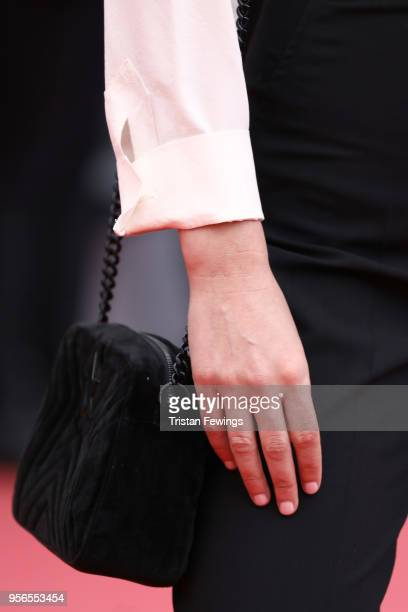 Juliette Armanet bag detail attends the screening of 'Yomeddine' during the 71st annual Cannes Film Festival at Palais des Festivals on May 9 2018 in...