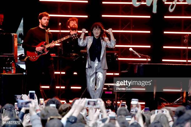 Juliette Armanet is seen performing at Galeries Lafayette 'Music Machines' concert on April 11 2018 in Paris France