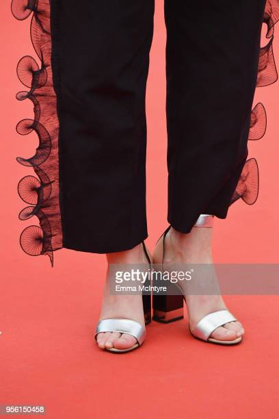 Juliette Armanet shoe detail attends the screening of 'Everybody Knows ' and the opening gala during the 71st annual Cannes Film Festival at Palais...