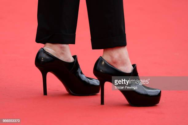 Juliette Armanet shoe detail attends the screening of 'Yomeddine' during the 71st annual Cannes Film Festival at Palais des Festivals on May 9 2018...