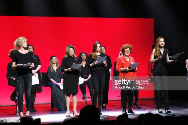 Juliette Arnaud Christelle Chollet Nicole Calfan Sophia Aram Alison Wheeler Andrea Ferreol and Eden Ducourant perform in 'Les Monologues du Vagin The...