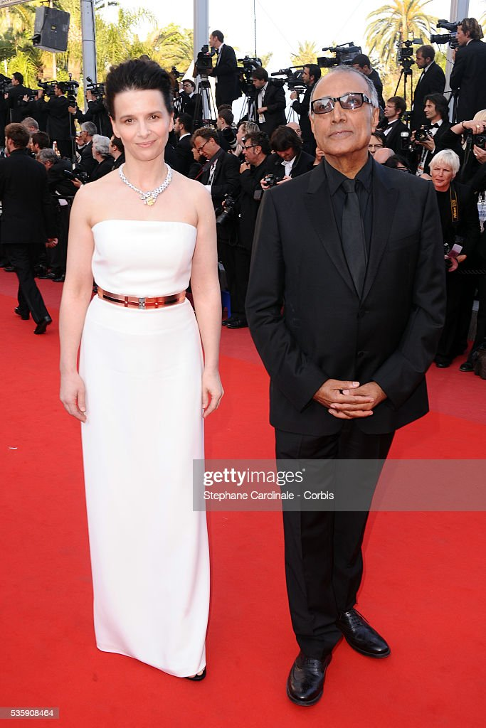 Juliette Binoche and Abbas Kiarostami attend the premiere of 'The tree' during the 63rd Cannes International Film Festival.