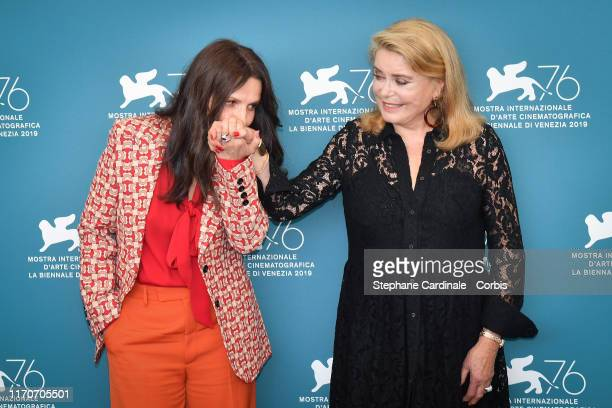 "Juliette Binoche and Catherine Deneuve attend ""La Vérité"" photocall during the 76th Venice Film Festival at Sala Grande on August 28, 2019 in Venice,..."