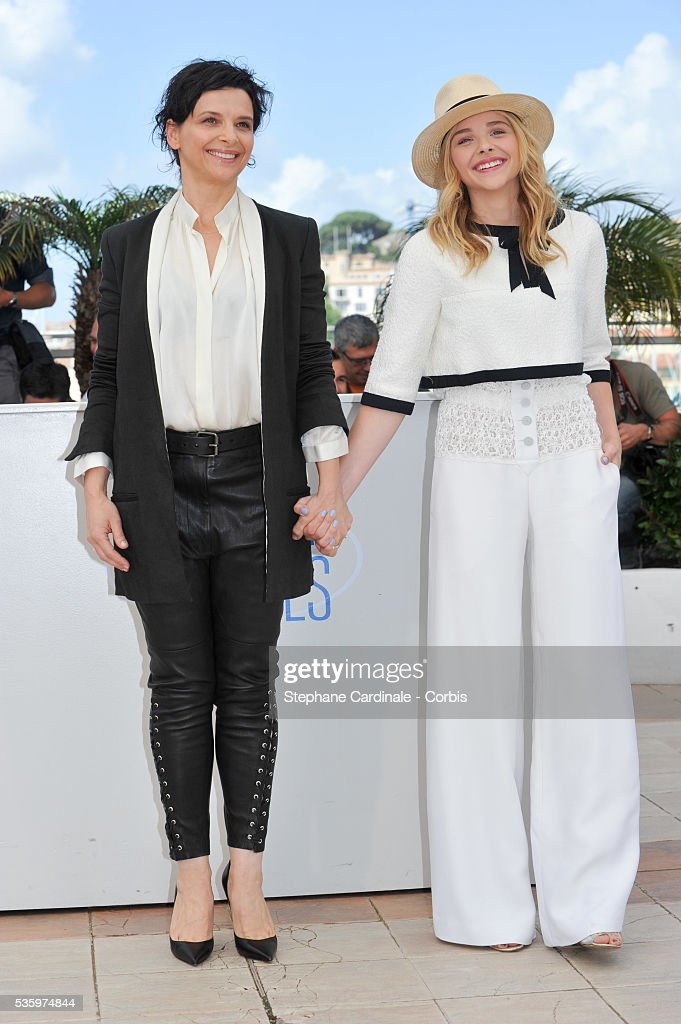 Juliette Binoche and Chloe Grace Moretz attend the 'Clouds Of Sils Maria' photocall during the 67th Cannes Film Festival
