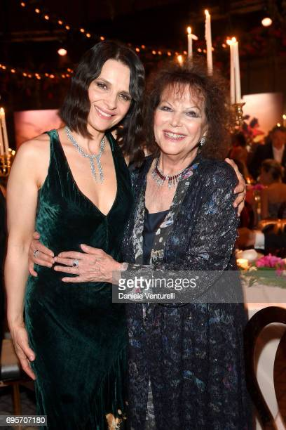 Juliette Binoche and Claudia Cardinale attend Piaget Sunlight Journey Collection Launch on June 13 2017 in Rome Italy
