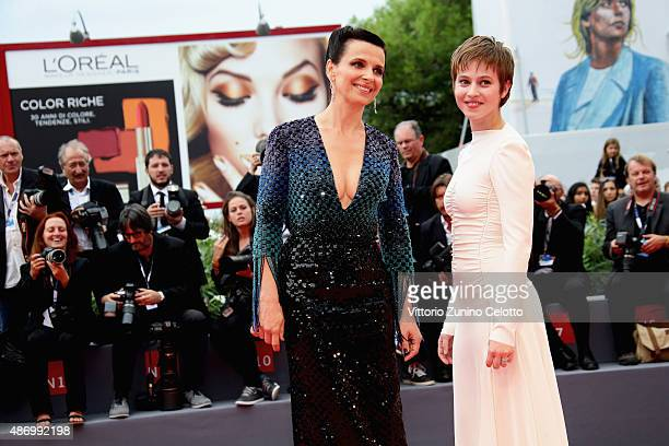 Juliette Binoche and Lou de Laage attend a premiere for 'The Wait' during the 72nd Venice Film Festival at Palazzo del Casino on September 5 2015 in...