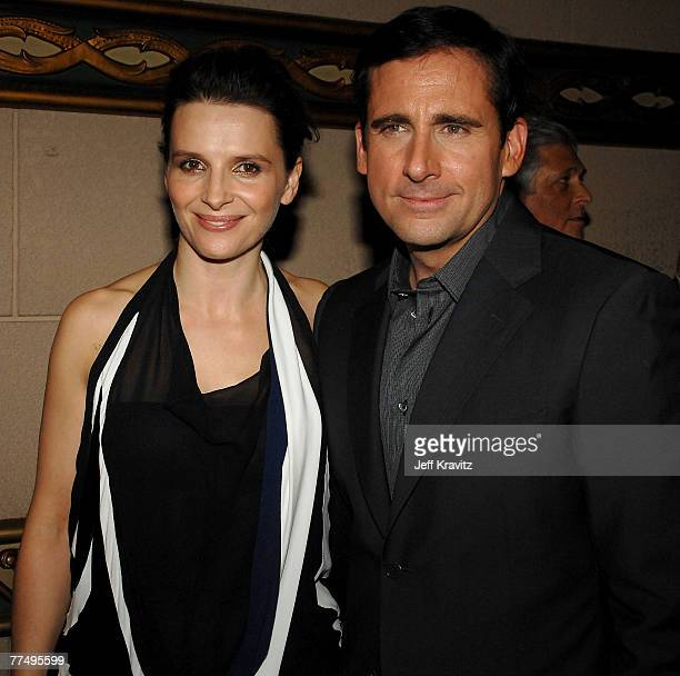 Juliette Binoche and Steve Carell attend the premiere of Dan In Real Life at the El Capitan Theater on October 24, 2007 in Hollywood, California.