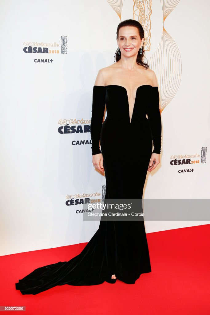 Juliette Binoche arrives at the Cesar Film Awards 2018 at Salle Pleyel at Le Fouquet's on March 2, 2018 in Paris, France.