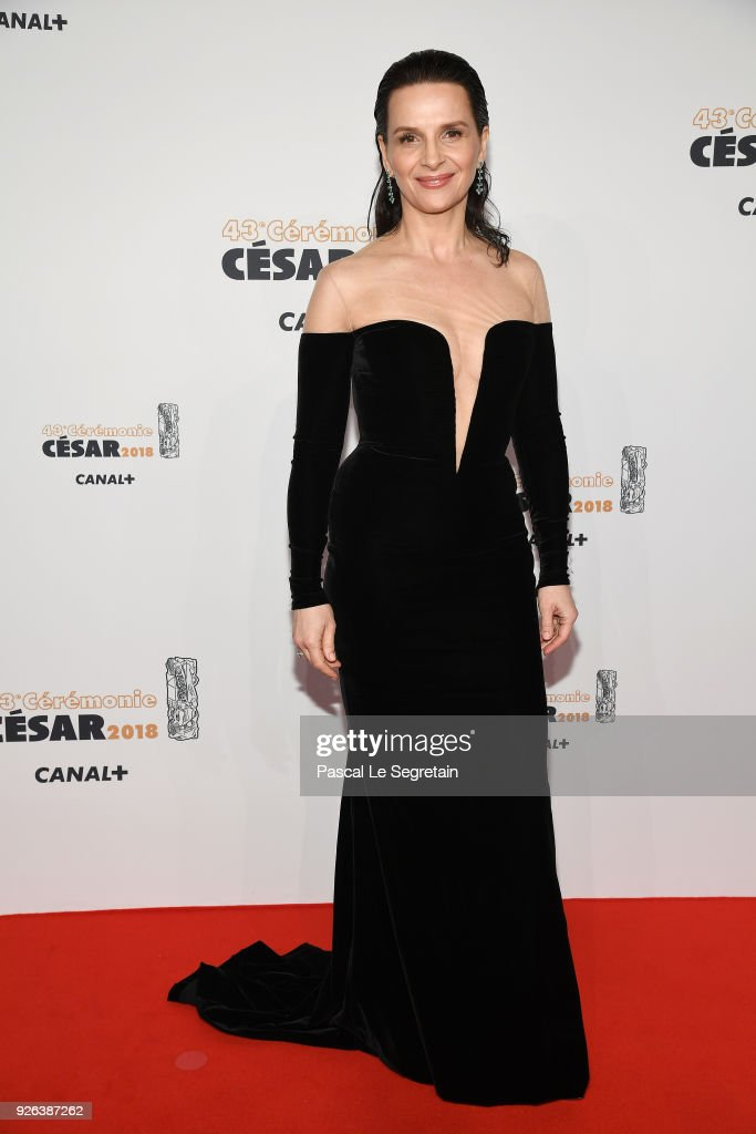 Juliette Binoche arrives at the Cesar Film Awards 2018 at Salle Pleyel on March 2, 2018 in Paris, France.