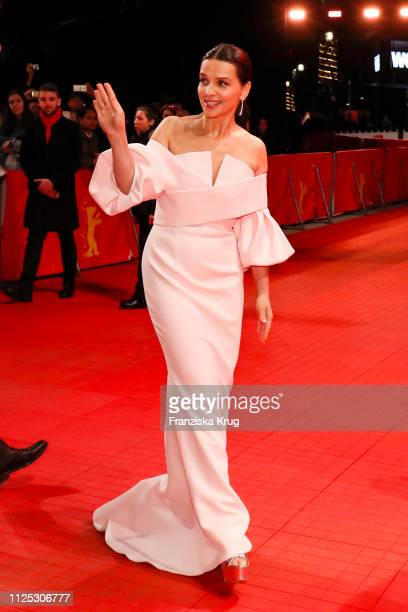 Juliette Binoche arrives in Audi etron car for the closing ceremony of the 69th Berlinale International Film Festival Berlin at Berlinale Palace on...