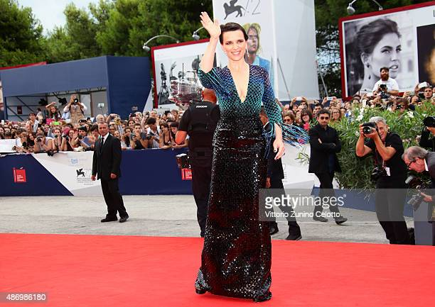 Juliette Binoche attends a premiere for 'The Wait' during the 72nd Venice Film Festival on September 5 2015 in Venice Italy