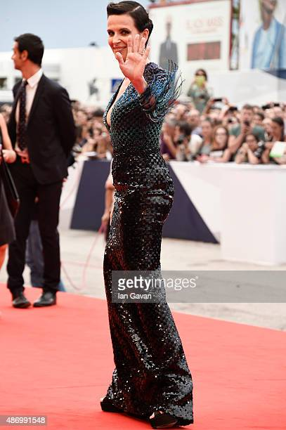 Juliette Binoche attends a premiere for 'The Wait' during the 72nd Venice Film Festival at Palazzo del Casino on September 5 2015 in Venice Italy