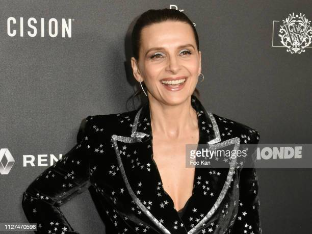 "Juliette Binoche attends the 14th ""Globe De Cristal"" ceremony at Salle Wagram on February 04, 2019 in Paris, France."