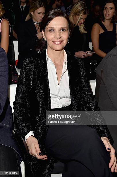 Juliette Binoche attends the Emporio Armani show as part of the Paris Fashion Week Womenswear Spring/Summer 2017 on October 3 2016 in Paris France