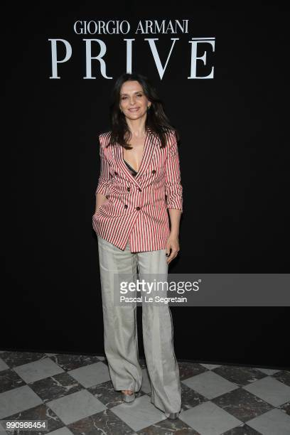 Juliette Binoche attends the Giorgio Armani Prive Haute Couture Fall Winter 2018/2019 show as part of Paris Fashion Week on July 3 2018 in Paris...