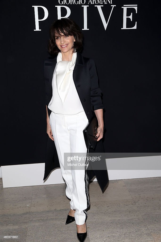 Juliette Binoche attends the Giorgio Armani Prive show as part of Paris Fashion Week Haute-Couture Spring/Summer 2015 on January 27, 2015 in Paris, France.