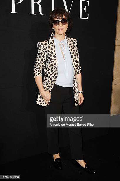 Juliette Binoche attends the Giorgio Armani Prive show as part of Paris Fashion Week Haute Couture Fall/Winter 2015/2016 on July 7 2015 in Paris...