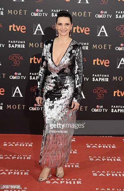 Juliette Binoche attends the Goya Cinema Awards 2016 Ceremony at Madrid Marriott Auditorium on February 6 2016 in Madrid Spain