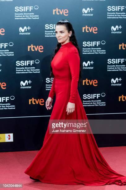 Juliette Binoche attends the 'High Life' premiere during the 66th San Sebastian International Film Festival on September 27 2018 in San Sebastian...