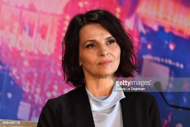 Juliette Binoche attends the official press conference for the Paris Premiere of the Paramount Pictures release Ghost In The Shell at Hotel Le...